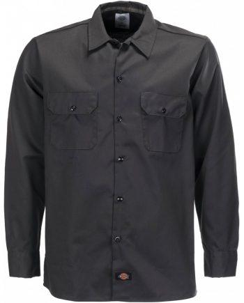Long sleeve slim work shirt (Black) (2XL)