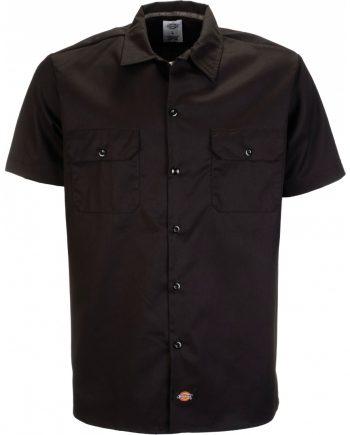 Short Sleeve slim work shirt (Black) (2XL)